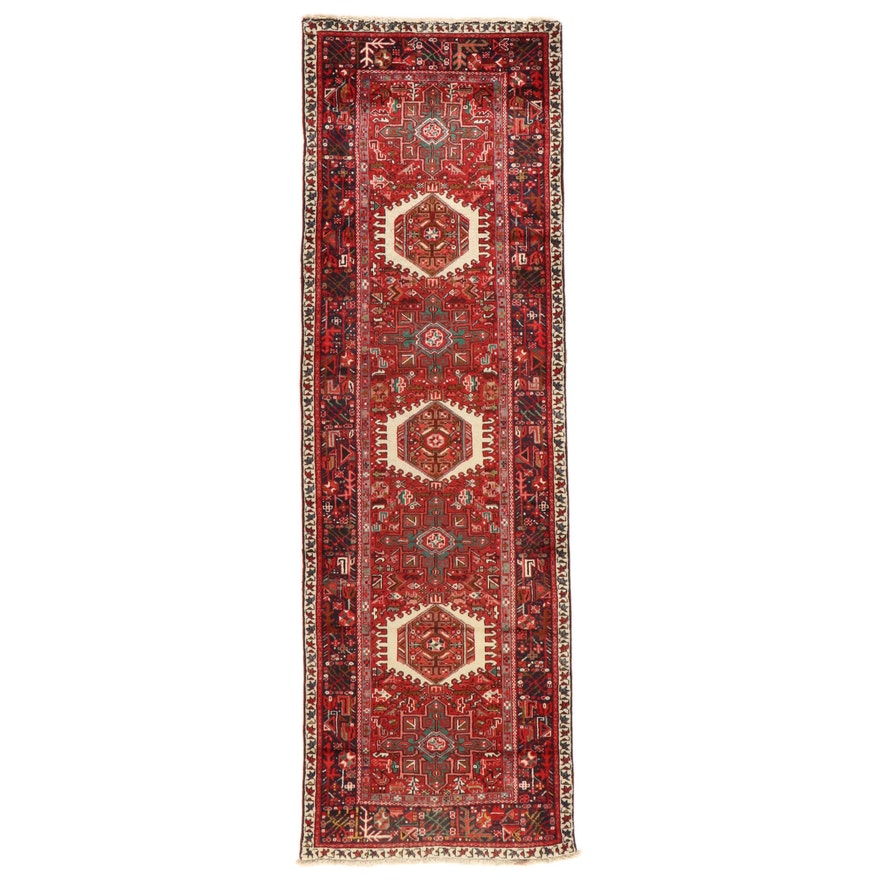 3'1 x 10'2 Hand-Knotted Persian Karaja Carpet Runner