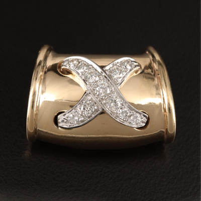 "14K Diamond ""X"" Slide Pendant"