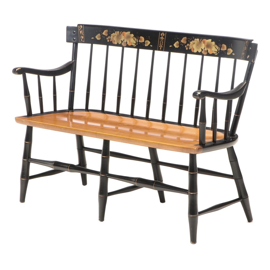 Federal Style Maple, Parcel-Ebonized, and Gilt-Stenciled Rod-Back Settee