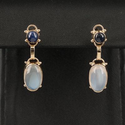 14K Moonstone and Sapphire Earrings