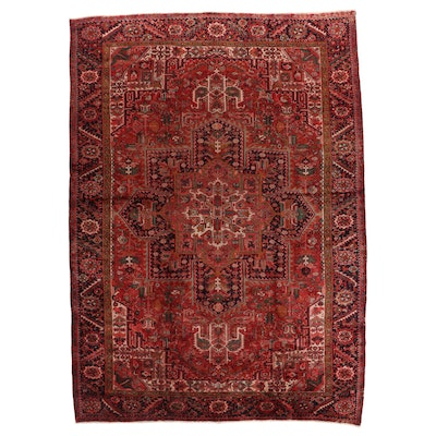 9'2 x 13' Hand-Knotted Persian Heriz Room Sized Rug
