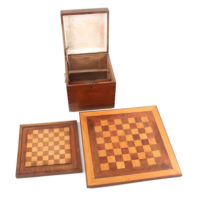 Wall Hanging Wooden Chess Boards with Handmade Dove Tailed Storage Box