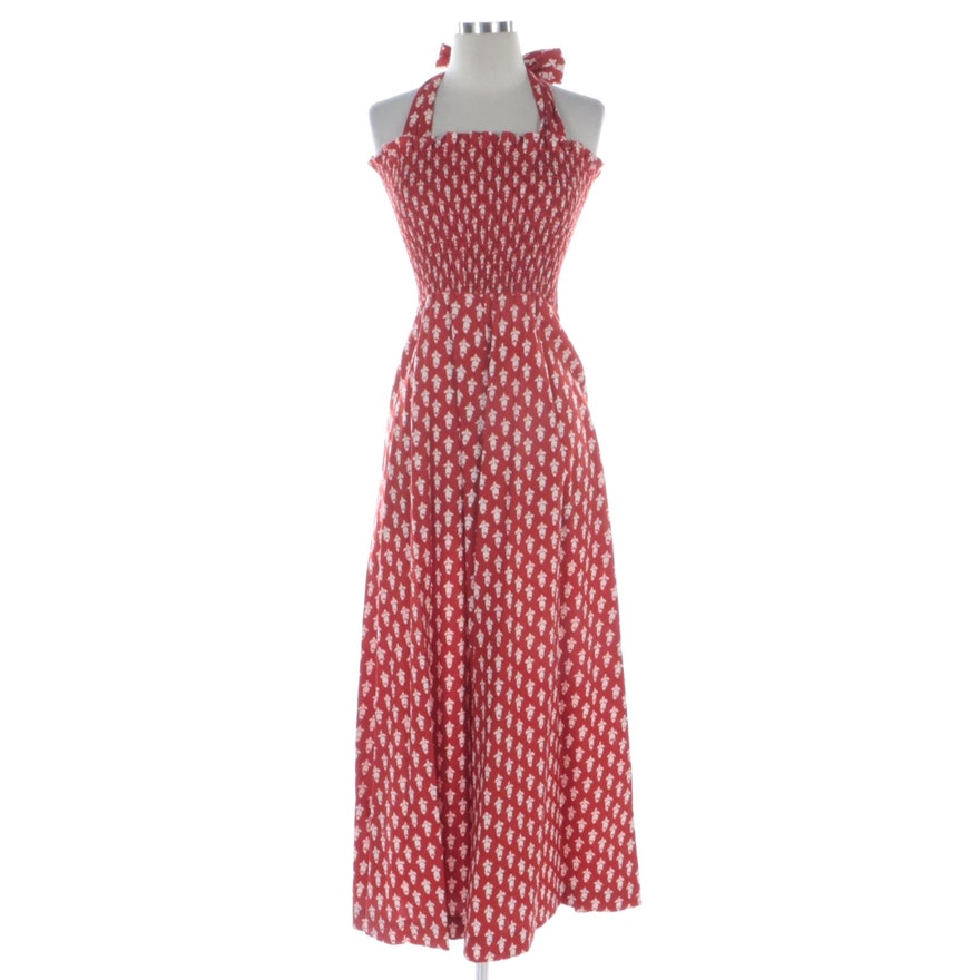 The Cottager for The Junior Floral Print Maxi Halter Dress in Red and White