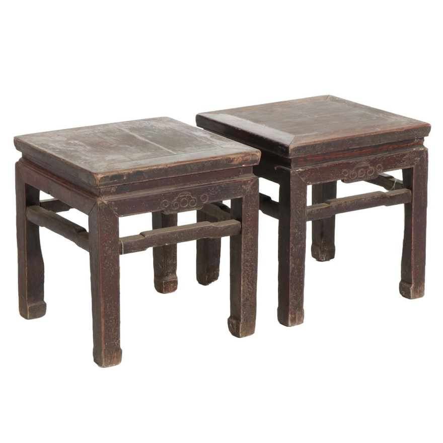 Pair of Chinese Wooden Waisted Horsehoof Stools