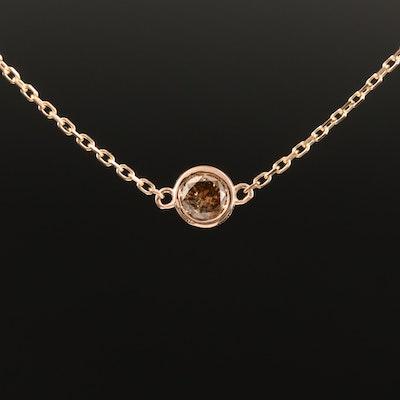 18K 0.24 CT Bezel Set Brown Diamond Solitaire Necklace