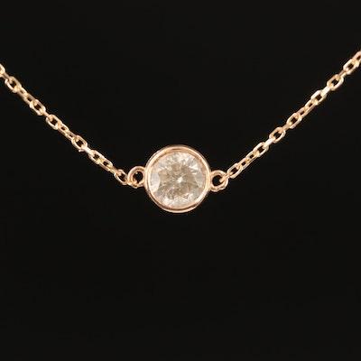 18K 0.50 CT Bezel Set Brown Diamond Solitaire Necklace