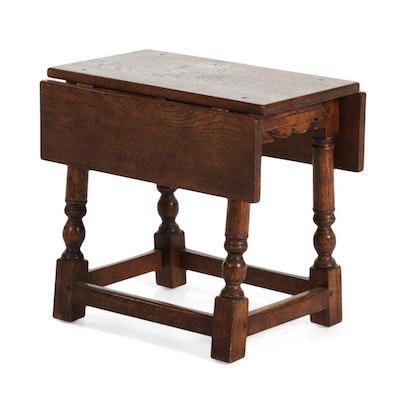 Oak Drop Leaf Side Table, Mid-20th Century