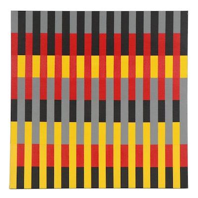 "deSanto Op Art Acrylic Painting ""Escalade III,"" 2021"