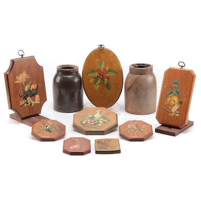 Handcrafted Decoupage Wooden Wall Plaques with Stoneware Crocks