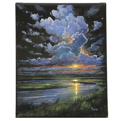 """Douglas """"Bumo"""" Johnpeer Nocturnal Landscape Oil Painting, 2021"""