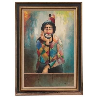 Clown Portrait Oil Painting, circa 1975