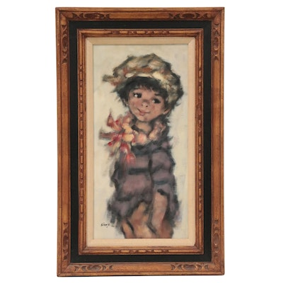 Abstract Oil Painting of Young Boy, circa 1975