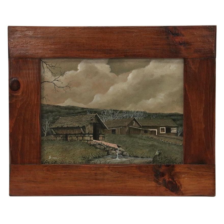 Farm Landscape Oil Painting, circa 2000
