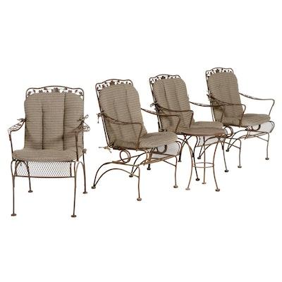 Wrought Iron and Diamond Mesh Metal Patio Furniture Set