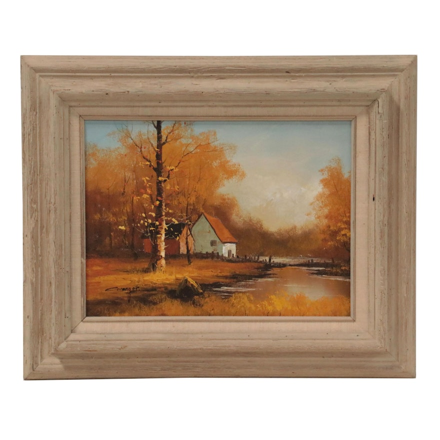 Autumn Country Landscape Oil Painting, Late 20th Century