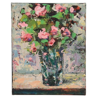 Amelia Colne Floral Still Life Acrylic Painting