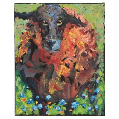 Elle Raines Acrylic Painting of Sheep