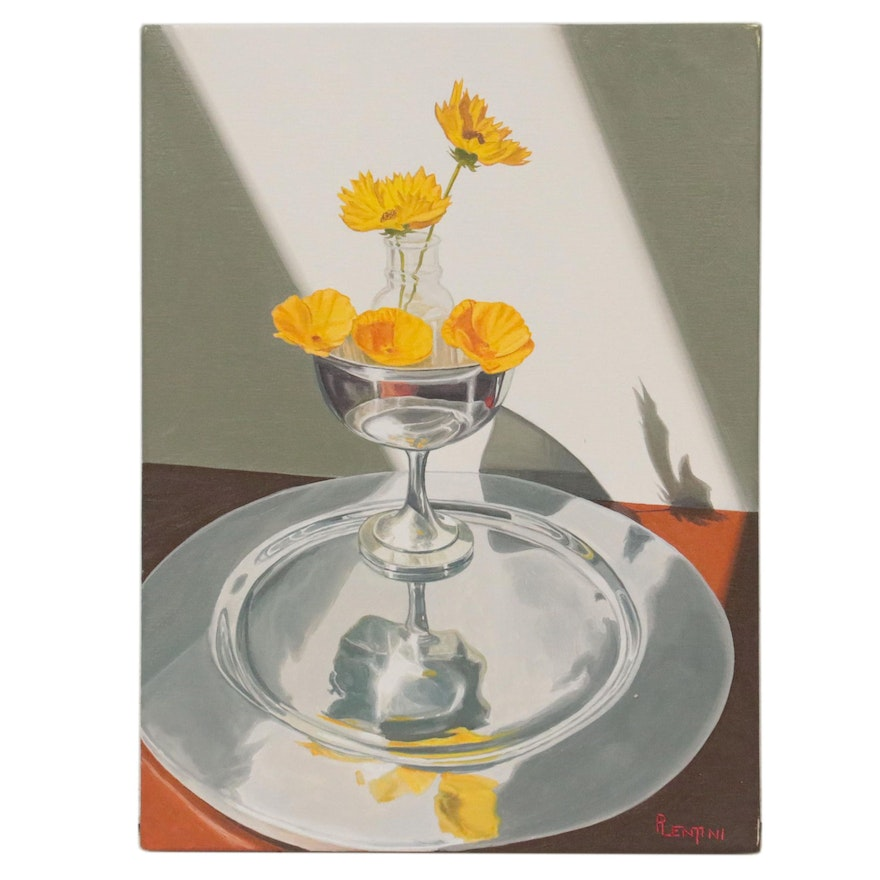 """Peter Lentini Floral Still Life Oil Painting """"Nido"""""""