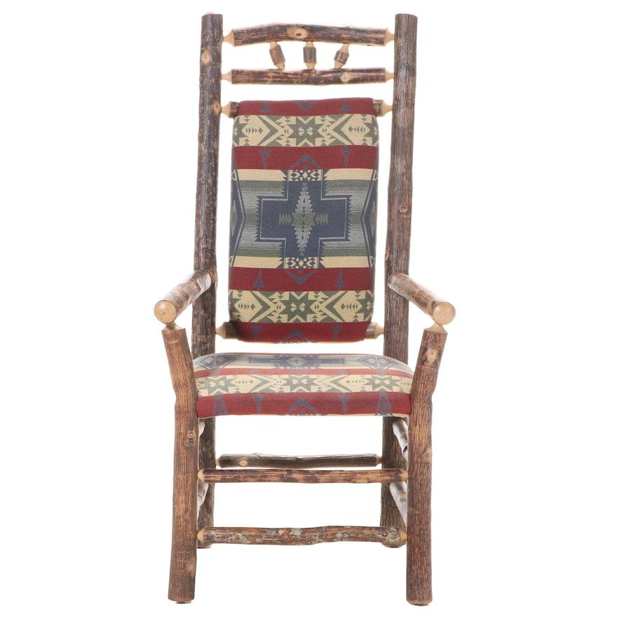 Adirondack Style Custom-Upholstered Twig Armchair