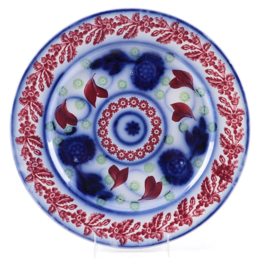 Staffordshire Flow Blue Style Polychrome Ironstone Plate, Mid-19th Century