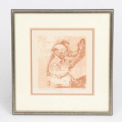 "Bertha Schoenbach Relief Print ""Pablo Casals in Marlboro,"" 1985"