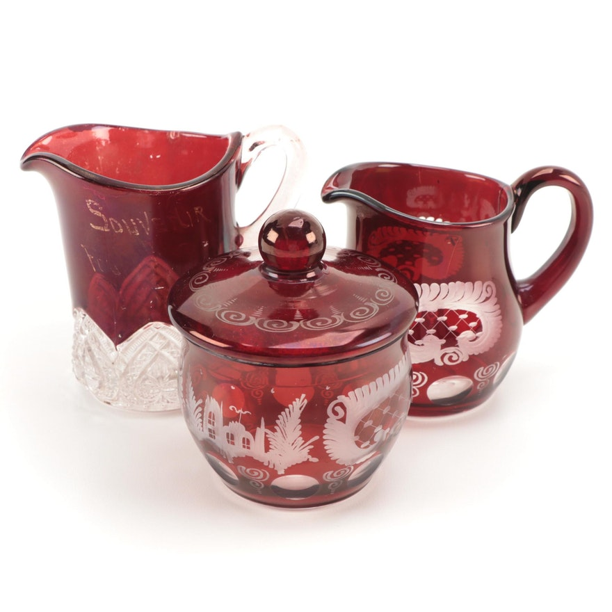 Bohemian Egermann Style Cream and Sugar Bowl with Ruby Flashed Souvenir Creamer