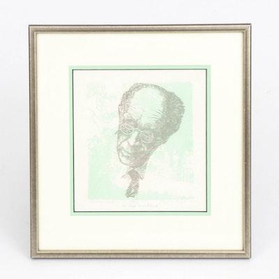 "Bertha Schoenbach Relief Print ""Rudolf Serkin"""
