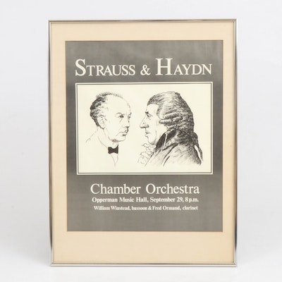 """Chamber Orchestra Concert Poster """"Strauss & Haydn"""" Featuring William Winstead"""