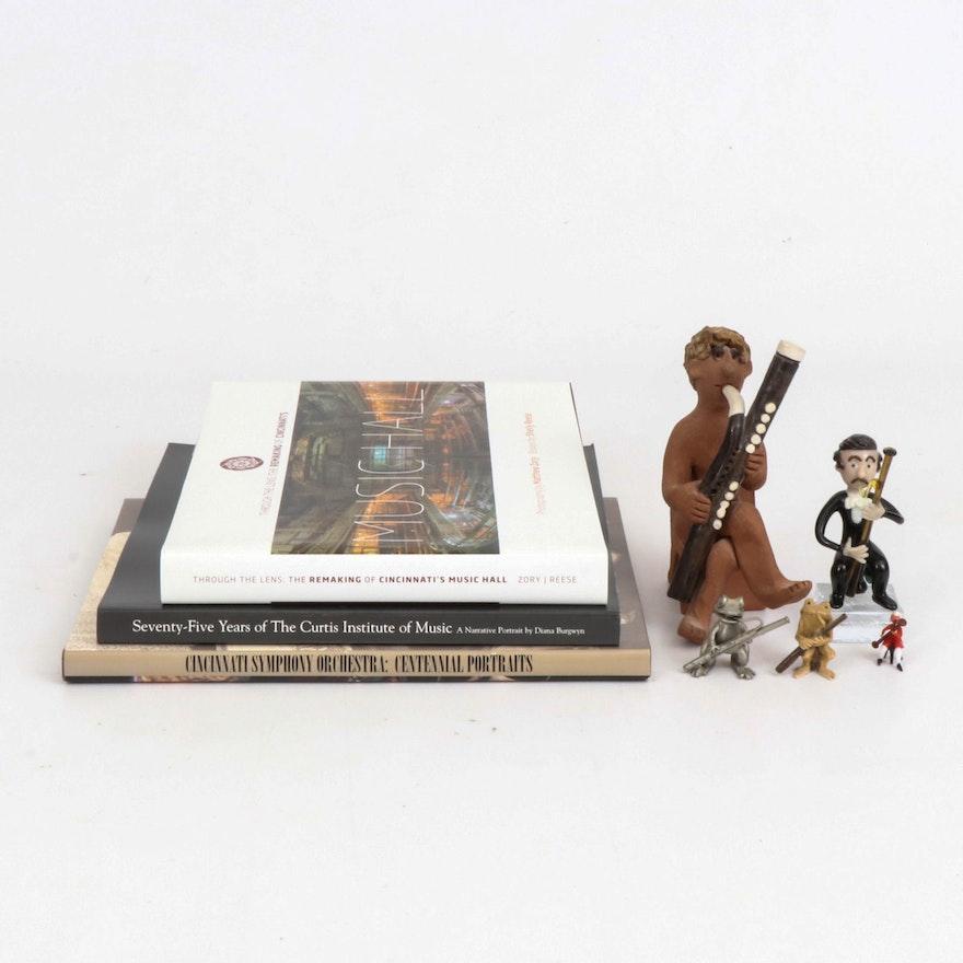 Cincinnati Musical Theater Books and Miniature Bassoonist Figurines