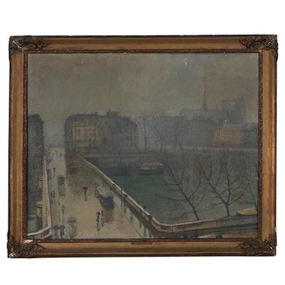 Paul De Castro Cityscape Oil Painting, circa 1900