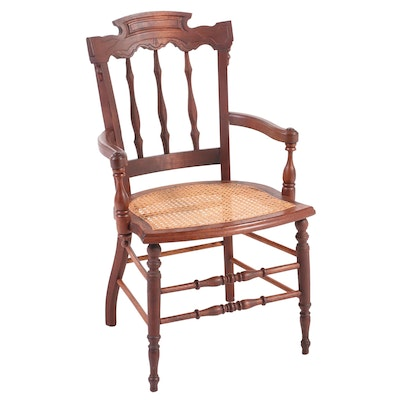 Victorian Walnut Spindle-Back Armchair, Late 19th Century