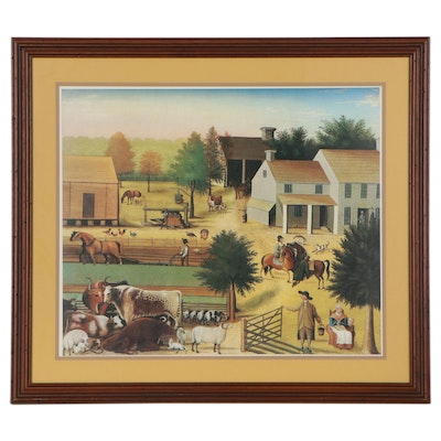 """Offset Lithograph after Edward Hicks """"The Residence of David Twining"""""""