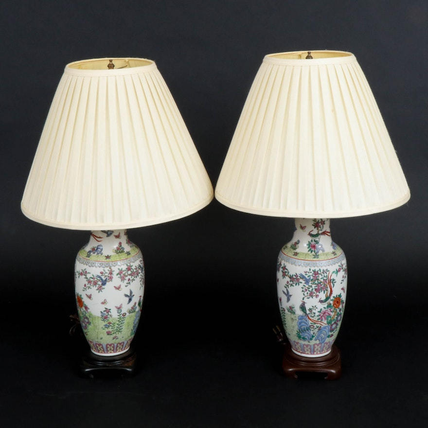 Pair of Chinese Ceramic Ginger Jar Table Lamps with Pleated Shades