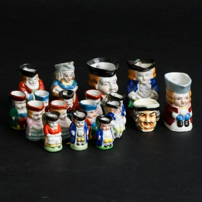 Occupied Japan Ceramic Miniature Toby Jugs, Mid-20th Century