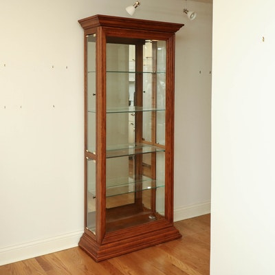 Philip Reinisch Glass and Oak Mirrored Display Cabinet with Overhead Lighting