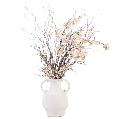 White Glazed Wheel Thrown Vase with Artificial Flowering Branches