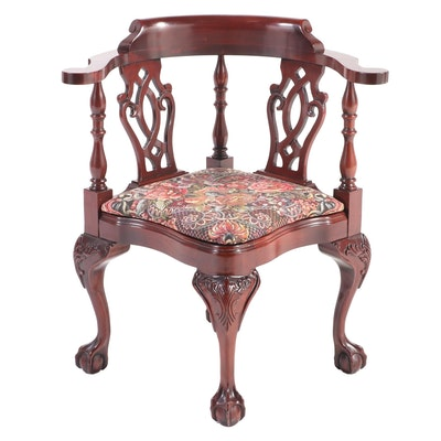 Statesville Chair Company Chippendale Style Mahogany Corner Armchair