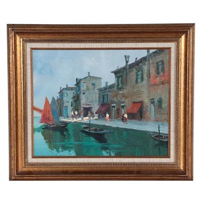 Marco Foscarini Italian Canal Scene Oil Painting
