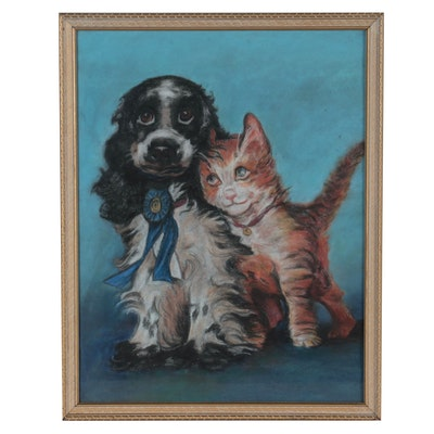 Pastel Drawing of Prize Dog with Cat Friend
