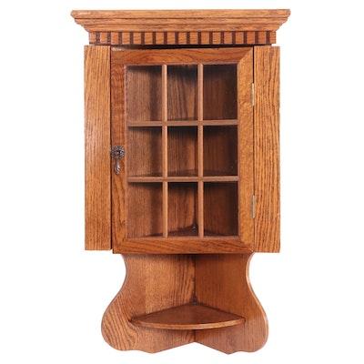 American Primitive Style Oak Hanging Corner Cupboard, Late 20th Century