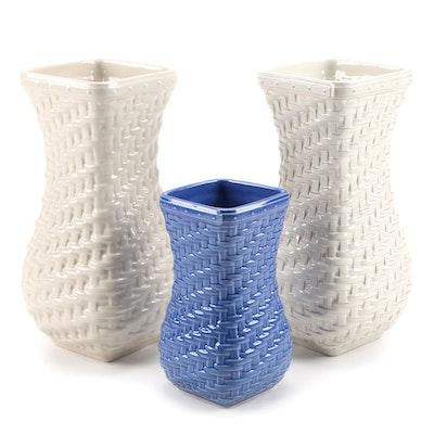 "Longaberger Pottery ""Hostess Woven Reflections"" Ceramic Vases"
