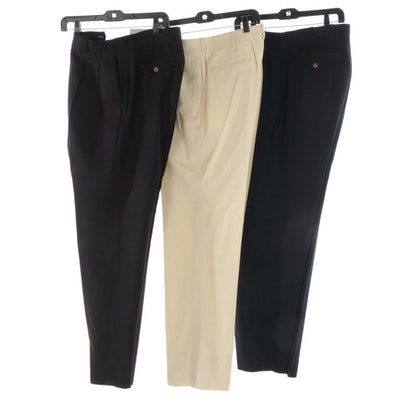 Men's Tommy Bahama Navy and Black Pants with Polo Golf Herringbone Touring Pants