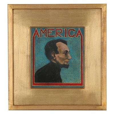 "Mixed Media Portrait of Abraham Lincoln ""America"""