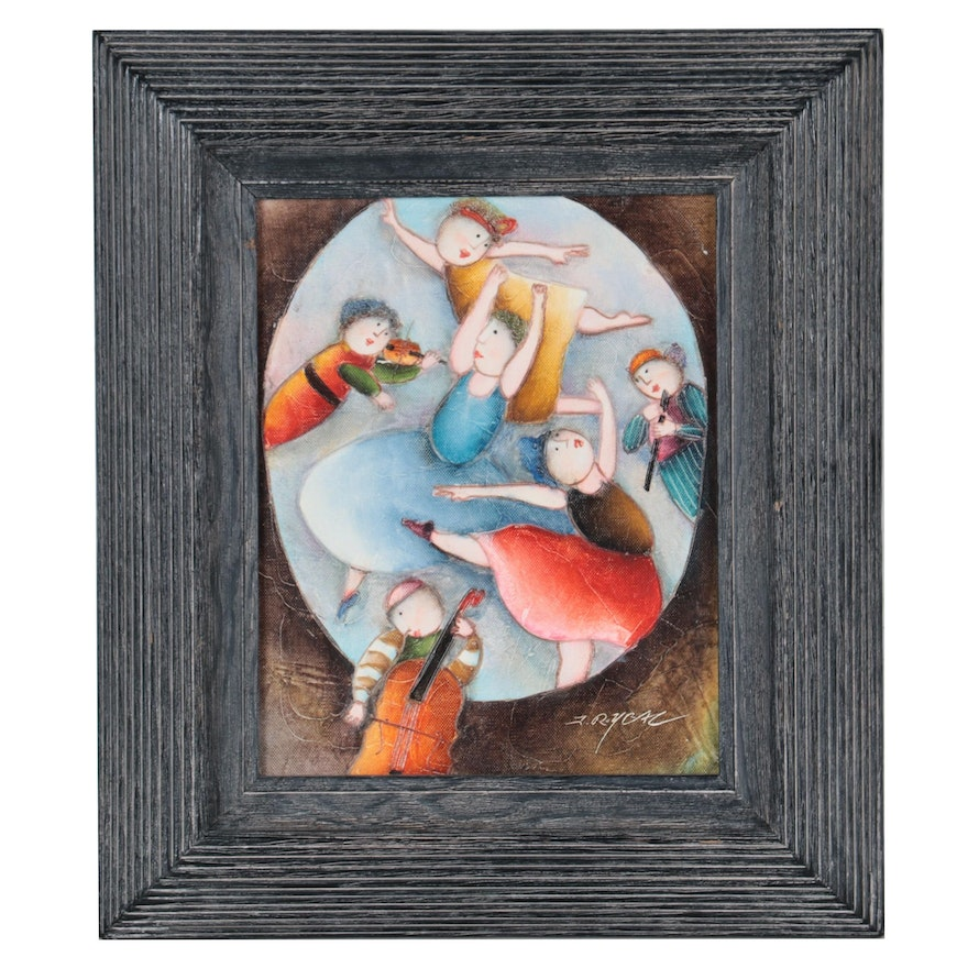 J. Roybal Oil Painting of Dancers and Musicians