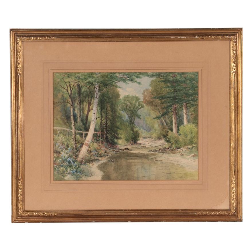William Bartholomew Watercolor Painting of Creek Landscape