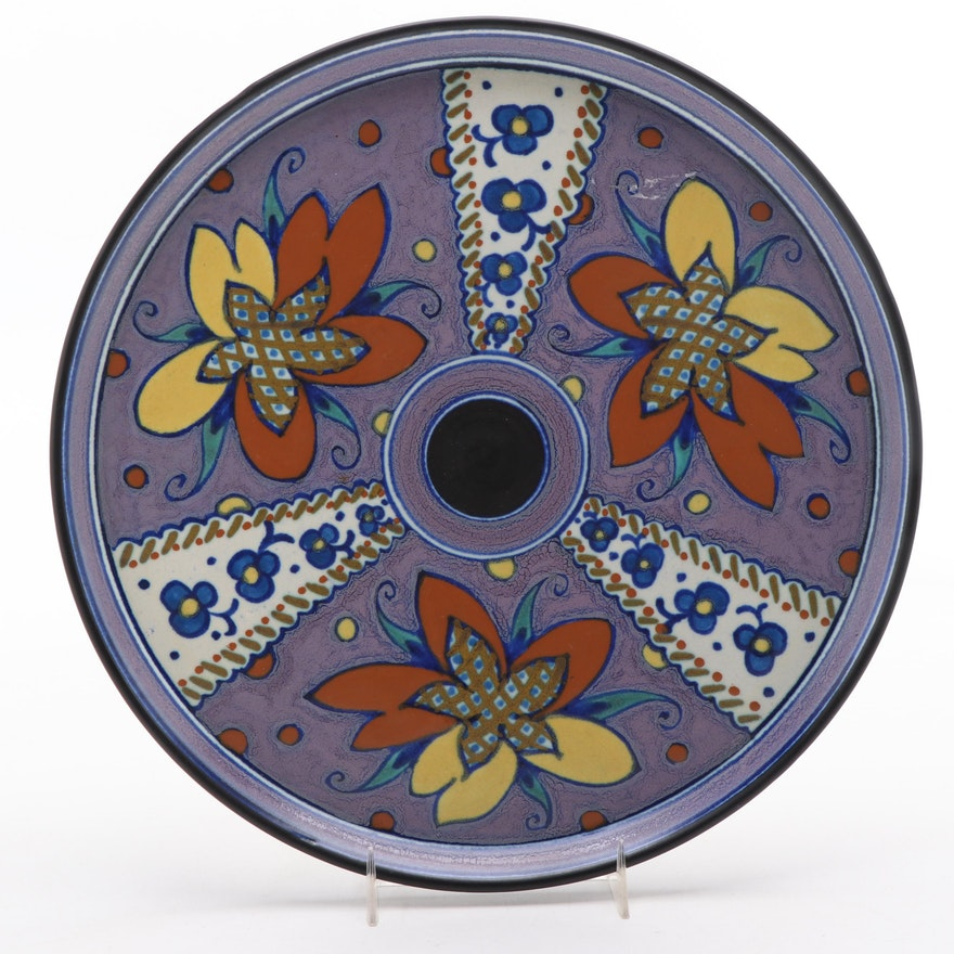 Gouda Dutch Art Pottery Majolica Charger, 1928