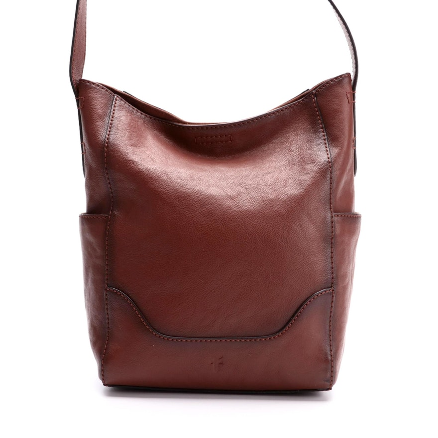 Frye Brown Leather Hobo Bag with Side Pockets