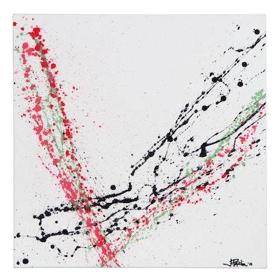 "J. Popolin Abstract Acrylic Painting ""Onward and Upward,"" 2021"