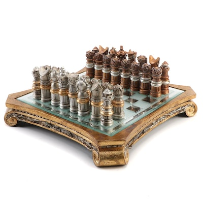 Renaissance Style Carved Composite and Wood Mirrored Chess Set