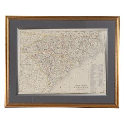 George F. Cram Railroad Map of North and South Carolina, circa 1905